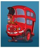 tillbaka för london för framdel för busscabstad sikter sida Arkivbilder