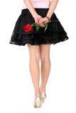 tillbaka flicka rose s Royaltyfri Foto