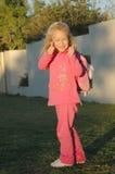 tillbaka flickapinkskola till Royaltyfri Fotografi