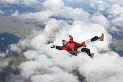tillbaka flyg hans skydiver Arkivfoto