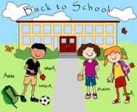 tillbaka gående ungeskola till Royaltyfria Foton