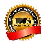 Tillbaka guld- tecken 100% pengar, etikettmall för vektor Arkivfoton