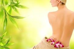 tillbaka härlig naken kvinna Arkivfoton