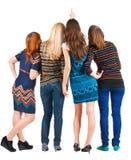 tillbaka härliga gruppsiktskvinnor Arkivfoton
