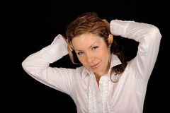 tillbaka hår som binder kvinnan Arkivbilder