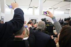 tillbaka intervjufolk Fotografering för Bildbyråer