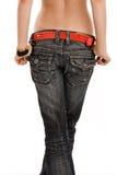 tillbaka jeans Arkivfoto