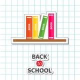 tillbaka kortskola till Rita idén för den ljusa kulan, bunten av böcker, äpple Pappers- stil för design för lägenhet för arkbakgr Arkivbilder