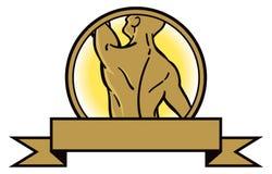 Tillbaka muskellogo royaltyfri illustrationer