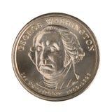 tillbaka myntdollar en Arkivfoton