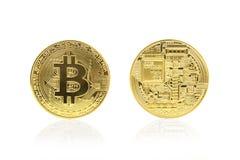 Tillbaka och främre sikt av guld- bitcoin Royaltyfri Bild
