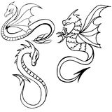 Tillbaka och vita vektorillustrationer stam- drake Ställ in tre drakar Svartvit draketatuering vektor illustrationer