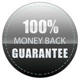 tillbaka pengar för guarantee 100 FÄRGER SVÄRTAR DEN VITA OCH GRÅA ILLUSTRATIONEN FÖR SYMBOLSEMBLEMETIKETTEN royaltyfri illustrationer