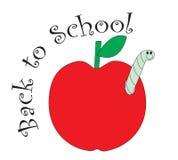 tillbaka röd skola för äpple till Royaltyfria Bilder