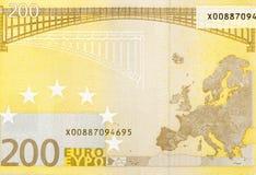 Tillbaka sida av 200 euro - makrofragmentsedel Royaltyfri Bild