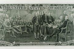 Tillbaka sida av räkningen för dollar två Royaltyfri Foto