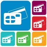 tillbaka sida för symbol för kortkrediteringsframdel Arkivfoto