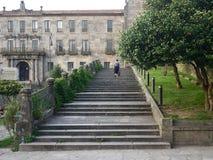 Tillbaka sikt av att gå kvinnaturisten på stentrappan royaltyfri foto