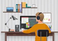 Tillbaka sikt av bärande hörlurar för ung man som sitter på illustrationen för thewskrivbordvektor Tonåring som använder PC i egn vektor illustrationer