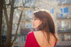 Tillbaka sikt av den unga brunettkvinnan med vinden som blåser hår, sinnliga kanter och den röda skjortan på stads- bakgrund för  arkivfoton