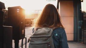Tillbaka sikt av den unga stilfulla kvinnan med ryggsäcken som går i i city bara på solnedgång som tycker om sikt av cityscape arkivfilmer