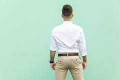 Tillbaka sikt av en ung vuxen brunettaffärsman, på ljus - grön bakgrund Arkivbild
