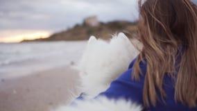 Tillbaka sikt av ett sammanträde för ung kvinna på sanden och att omfamna hennes hund av Samoyedaveln vid havet Vitt fluffigt hus lager videofilmer