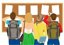 Tillbaka sikt av högskolestudenter som ser anslagstavlan royaltyfri illustrationer