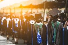 Tillbaka sikt av kandidater under avslutning Begreppsutbildningslyck?nskan i universitet royaltyfri fotografi