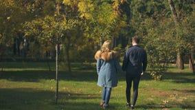 Tillbaka sikt av par som rymmer händer och går, ljus framtid, samhörighetskänsla arkivfilmer