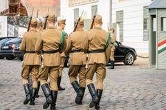 Tillbaka sikt av sex manliga ungrarevakter för caucasian i beige marschera för likformig och för gevär Arkivfoto