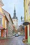 Tillbaka sikt av St Nicholas Church i den gamla staden av Tallinn i Es Arkivfoto