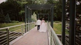Tillbaka sikt av vänner som går på en bro i en parkera Bruden och brudgummen har bra tid på deras bröllopdag lager videofilmer