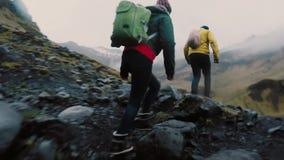 Tillbaka sikt av vännerna som tillsammans fotvandrar på berget Gruppen av ungdomarsom går till och med, vaggar nära floden lager videofilmer