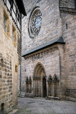 Tillbaka sikt på den Bamberger domkyrkan, Tyskland arkivfoto