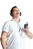 tillbaka silhouette för musik för man för hörlurventilatorlampa Royaltyfri Foto