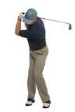 tillbaka skjuten swing för golfare järn Royaltyfria Foton