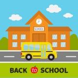 tillbaka skola till Byggnad med klockan och fönster Stadskonstruktion royaltyfri illustrationer