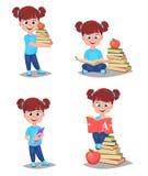 tillbaka skola till Den gulliga flickan är klar för att studera nätt barn royaltyfri illustrationer