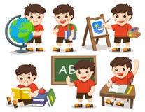 tillbaka skola till En gullig studentstudie i skola stock illustrationer