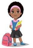 tillbaka skola till Gullig Afro--amerikan flicka med böcker i tillfälliga clo royaltyfri illustrationer