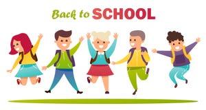 tillbaka skola till lycklig banhoppning för barn Royaltyfri Bild