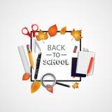 tillbaka skola till också vektor för coreldrawillustration Abstrakt begrepp med sax, anteckningsbok, förstoringsglas, blyertspenn Royaltyfri Bild