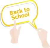 tillbaka skola till Planlägg beståndsdelar, händer och anförandebubblor som isoleras på vit, utbildning Arkivbilder