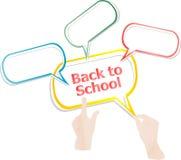 tillbaka skola till Planlägg beståndsdelar, händer och anförandebubblor som isoleras på vit, utbildning Royaltyfri Fotografi