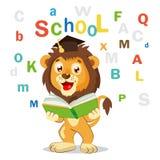 tillbaka skola till Roliga Lion Read Book On en vit bakgrund Tecknad filmvektorillustrationer royaltyfri illustrationer