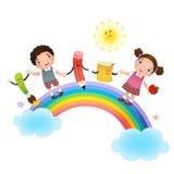 tillbaka skola till Skolaungar över regnbågen royaltyfri illustrationer
