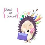 tillbaka skola till Stilfullt kort i gullig stil med tecknad filmigelkotten Mall för tryckdesign Royaltyfri Fotografi