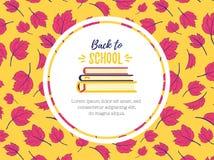 tillbaka skola till Symbolet av kunskap och studerar boken En bunt av läroböcker Designen templated på en färgbakgrund av höstbet stock illustrationer
