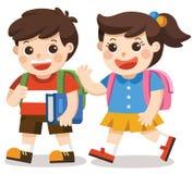 tillbaka skola till ungar som går till skolan med påsepacken stock illustrationer